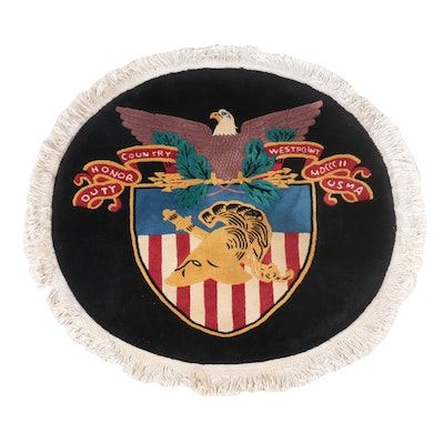 4'10 Round Hand-Knotted USMA West Point Crest Area Rug