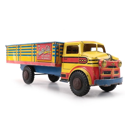 Marx Inter-City Delivery Service Tin Lithograph Truck Toy, Mid-20th Century