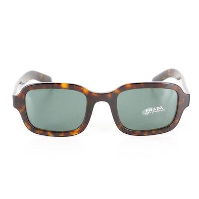 Prada SPR 11X Rectangular Sunglasses in Tortoise with Case