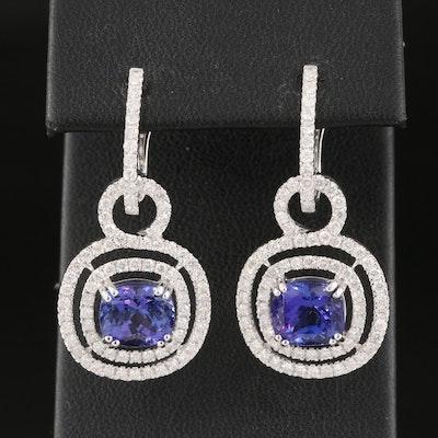 14K Tanzanite and 1.64 CTW Diamond Drop Earrings