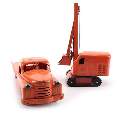 Structo Toys Pressed Steel Shovel Crane and Tow Truck Toys, Mid-20th Century