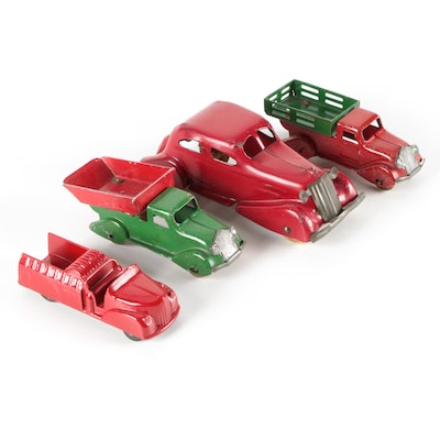 Red and Green Metal Fire Truck, Car, and Dump Trucks, Mid-20th Century