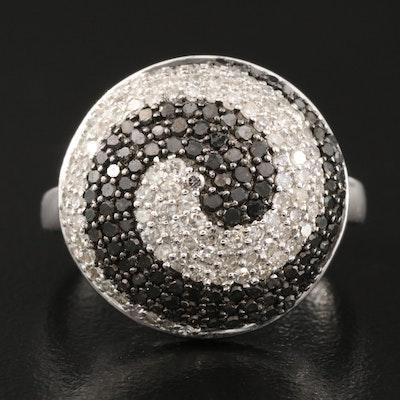 14K 1.75 CTW Pavé Diamond Spiral Ring