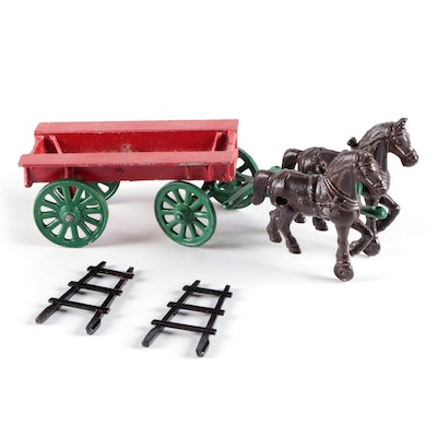 Cast Metal Horse-Drawn Cart, Early 20th Century