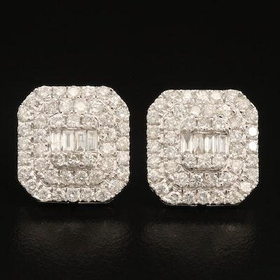 14K 3.20 CTW Diamond Button Earrings