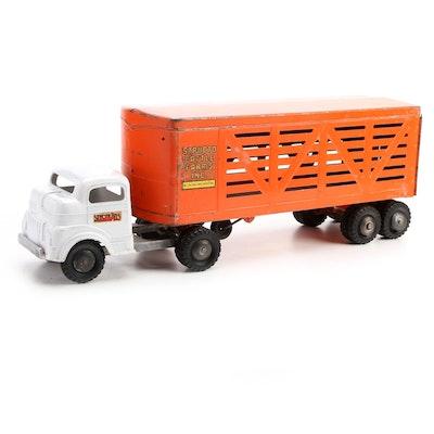 Structo Cattle Farms Livestock Transport Trailer Truck, Mid-20th Century