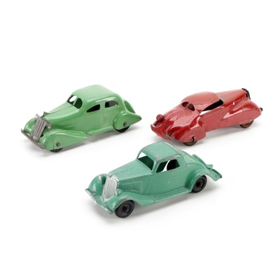 Hubley Metal Car with Other Green and Red Pressed Steel Toy Cars, Mid-20th C.