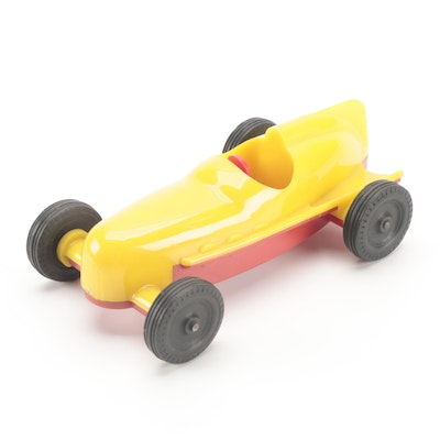 Glen Dimension Red and Yellow Plastic Toy Race Car, Mid-20th Century
