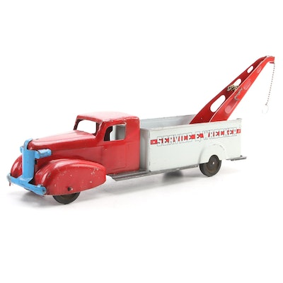 Wyandotte Tin Litho Service and Wrecker Toy Tow Truck, Mid-20th Century