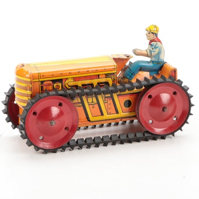 Marx Toys Tin Litho Climbing Tractor, Mid-20th Century