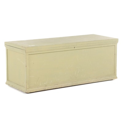 American Primitive Style Green-Painted Cedar Chest, Early to Mid 20th Century