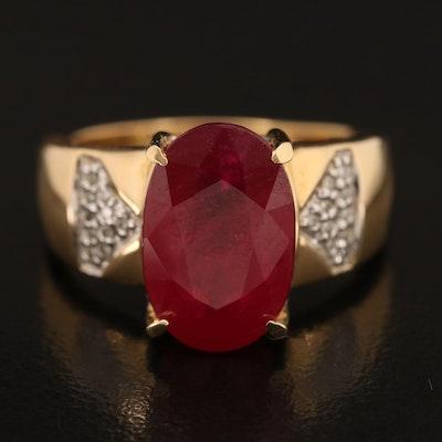 18K Corundum and Diamond Ring