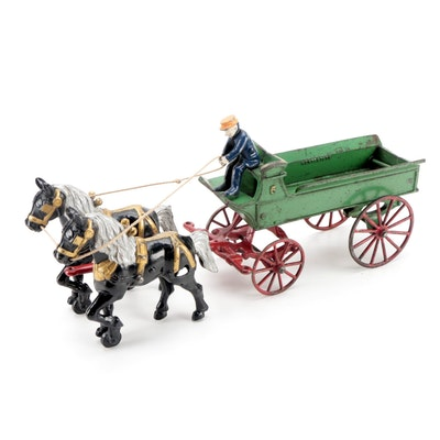 Kenton Toys Cast Iron Horse Drawn Wagon, Late 19th to Early 20th Century