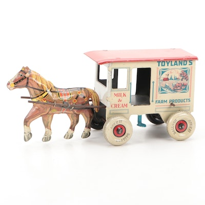 Marx Toyland's Farm Products Tin Lithograph Horse Drawn Cart Toy, 1930s