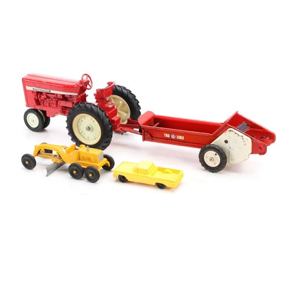 Ertl Pressed Steel Tractor Toy and Other Farm Equipment Toys, Mid-20th Century