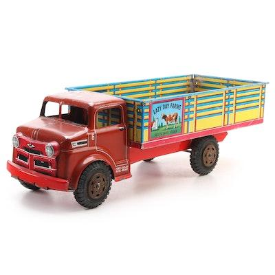 Marx Toys Tin Litho Lazy Day Farms Toy Milk Truck, Mid-20th Century