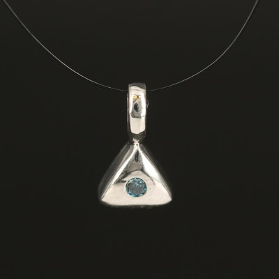 Sterling Diamond Triangular Pendant