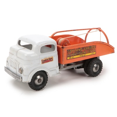 Structo Toys Toyland Garage Steel Tow Truck Toy, Mid-20th Century
