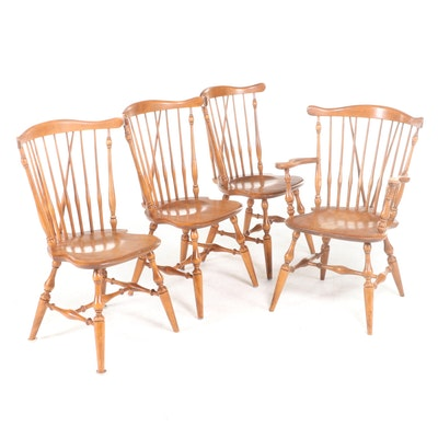 Four Ethan Allen by Baumritter Maple Comb and Brace-Back Windsor Dining Chairs