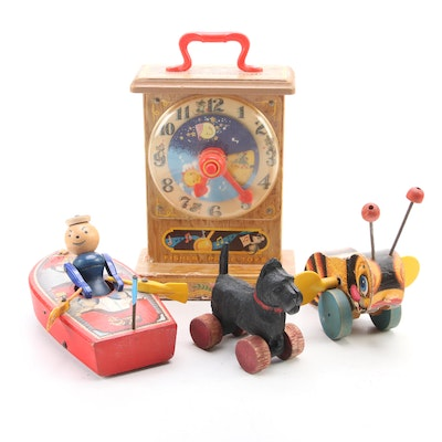 Fisher-Price Tick-Tock Teaching Clock and Other Pull Toys, Mid-20th Century