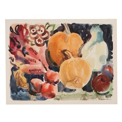 Jack Meanwell Autumn Still Life Watercolor Painting, Late 20th Century