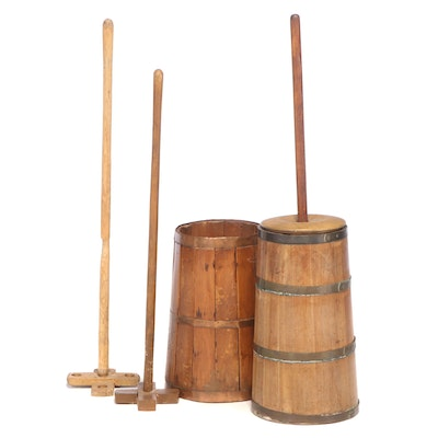 American Primitive Metal-Bound and Staved Wood Butter Churns with Dashers