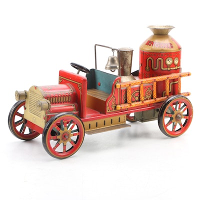Modern Toys 1912 Fire Engine Tin Lithograph Friction Car, Mid-20th Century