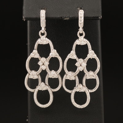 Judith Ripka 18K 1.05 CTW Diamond Openwork Earrings
