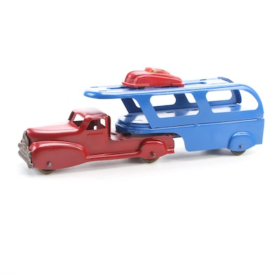 Pressed Steel Car Transport Truck and Plastic Car, Mid-20th Century