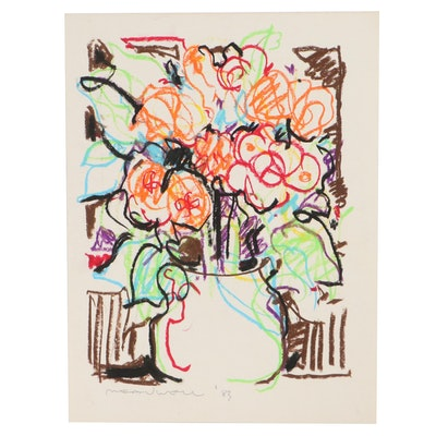 Jack Meanwell Floral Still Life Pastel Drawing, 1983