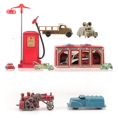 Barclay, Renwal, Thomas and Other Diecast and Plastic Cars with Gas Pump