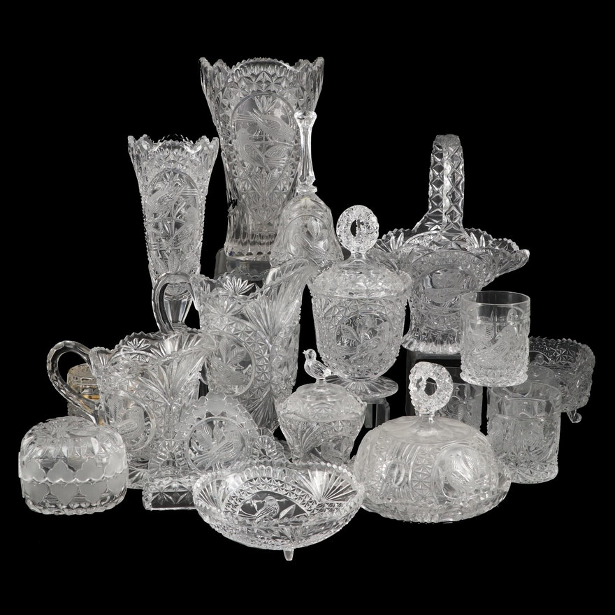 """Hofbauer """"The Byrdes Collection"""" Pressed Glass Serveware and Tableware"""