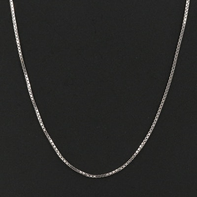 Italian Platinum Box Chain Necklace