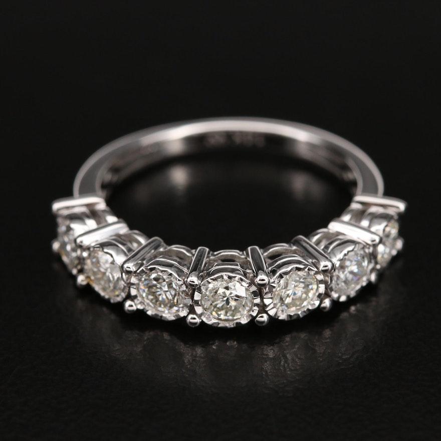 14K 1.05 CTW Diamond Seven Stone Illusion Set Ring