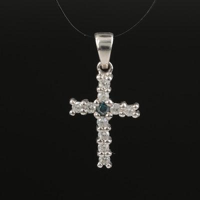 Sterling Silver Diamond and White Zircon Cross Pendant