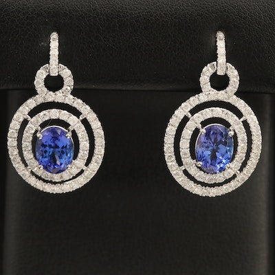 14K Tanzanite and 1.69 CTW Diamond Concentric Earrings