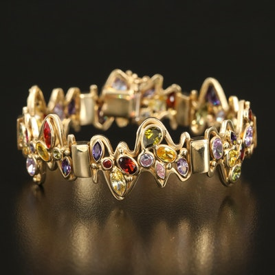 14K Italian Gold Freeform Bracelet with Cubic Zirconia, Sapphire and Ruby