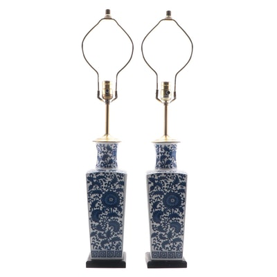 Chinese Style Blue and White Lotus and Vine Table Lamps,  Late 20th Century