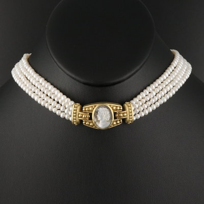 18K Multi-Strand Pearl Necklace with Mother of Pearl Cameo and Diamond Clasp