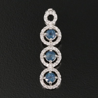 Sterling Sapphire and Zircon Concentric Drop Pendant