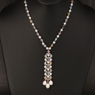 14K Pearl, Tourmaline, Peridot, Citrine, Topaz and Amethyst Y Necklace