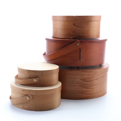 Shaker Workshop Oval Cherry Boxes and Other Bentwood Boxes and Sewing Basket