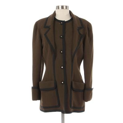 Chanel Boutique Brown Wool Blazer with Black Grosgrain Trim