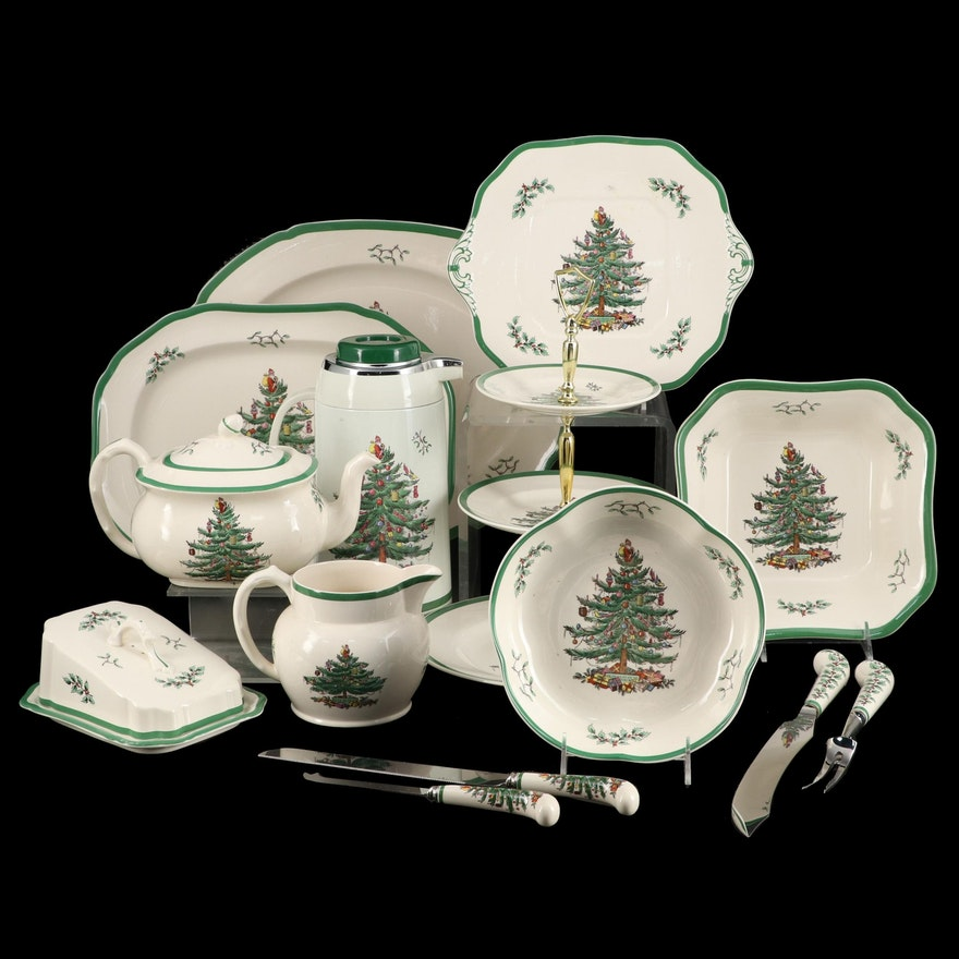 """Spode """"Christmas Tree"""" Porcelain Serveware and Table Accessories"""