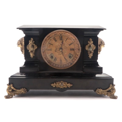 Ansonia Clock Co. Iron Case Mantel Clock with Figural Mounts, Late 19th Century