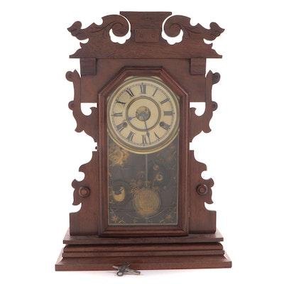 Victorian Walnut 8-Day Gingerbread Mantel Clock, Late 19th Century