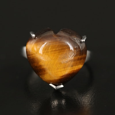 Sterling Tiger's Eye Heart Solitaire Ring