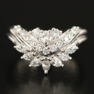 Platinum 0.94 CTW Diamond Chevron Ring