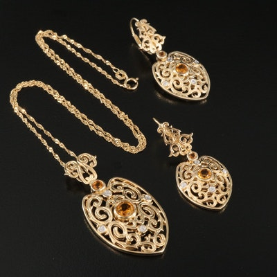 Sterling Citrine and Diamond Scrollwork Pendant Necklace with Matching Earrings