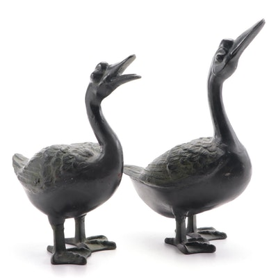 Japanese Painted and Patinated Iron Geese Sculptures, 20th Century